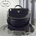 PRADA-007 時尚潮流男女款黑色鱷魚紋雙肩包書包