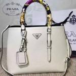 PRADA-003-3 小辣椒同款Double Bag系列白色十字紋手提單肩包購物袋