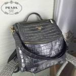 PRADA-007-3 時尚潮流男女款銀色鱷魚紋雙肩包書包
