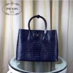 PRADA 2756-13 潮流百搭新款藍色鱷魚紋手提單肩包購物袋