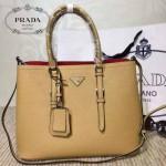PRADA-003-6 小辣椒同款Double Bag系列杏色十字紋手提單肩包購物袋