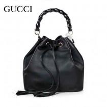 GUCCI 387613-2 專櫃最新款黑色小牛皮竹節水桶包手提單肩包