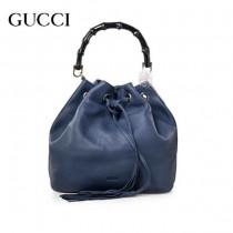 GUCCI 387613 專櫃最新款寶藍色小牛皮竹節水桶包手提單肩包