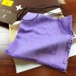 LV圍巾-3-7 時尚經典款蔡依林系列原單薰衣草紫色羊絨真絲圍巾披肩