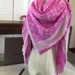 LV圍巾-3-2 時尚經典款蔡依林系列原單粉色羊絨真絲圍巾披肩