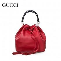 GUCCI 387613-3 專櫃最新款紅色小牛皮竹節水桶包手提單肩包