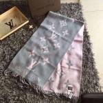 LV圍巾-6-3 時尚爆款安以軒同款REYKJAVIK灰粉色原單羊絨圍巾披肩