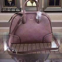 GUCCI 384688-7 秋冬新款女士粉紅色全皮單肩手提斜跨包