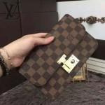 LV N63171 人氣熱銷單品女士Ascot系列咖色棋盤格鎖扣手拿晚宴包錢包