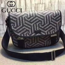 GUCCI 201732-3 時尚新款黑色印花PVC配黑色牛皮單肩斜挎包