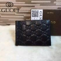 GUCCI 170580 潮流時尚男士經典款黑色全皮壓花鈔票夾
