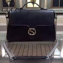 GUCCI 387605-1 秋冬新款女士黑色全皮手提斜背包