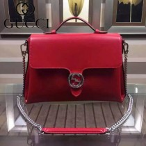 GUCCI 387605 秋冬新款女士紅色全皮手提斜背包