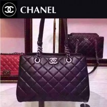 CHANEL 0135 專櫃秋冬新款黑色全皮單肩斜挎包購物袋