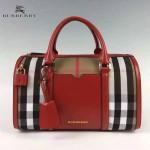 BURBERRY 5001176-3 傳統工藝復古House Check帆布配紅色皮中號保齡球包