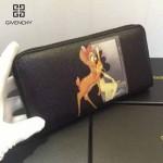 GIVENCHY-005-3 人氣熱銷新款小鹿斑比圖案十字紋拉鏈長款錢包