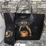 GIVENCHY-0011 專櫃官方版經典款惡犬圖案十字紋大容量購物袋