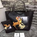 GIVENCHY-0012-2 潮流官方版經典款小鹿斑比圖案十字紋豎款購物袋