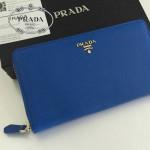 PRADA 1M1188-11 時尚潮流女士散字標藍色十字紋原版皮多功能長款錢包