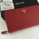 PRADA 1M1188-10 時尚潮流女士散字標棗紅色十字紋原版皮多功能長款錢包