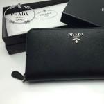 PRADA 1M0506-02 人氣熱銷經典新款黑色原版皮拉鏈長款錢夾