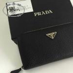 PRADA 1M0506-07 人氣熱銷經典新款黑色荔枝紋原版皮拉鏈長款錢夾