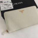 PRADA 1M1188-9 時尚潮流女士散字標白色十字紋原版皮多功能長款錢包