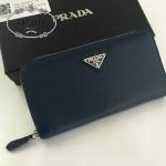 PRADA 1M0506-08 人氣熱銷經典新款深藍色原版皮拉鏈長款錢夾