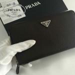 PRADA 1M1188-2 時尚商務男士經典三角標黑色荔枝紋原版皮多功能長款錢包