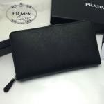 PRADA 1M1188-15 時尚潮流女士印字logo黑色十字紋原版皮多功能長款錢包