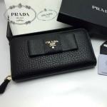 PRADA 1M0506-09 人氣熱銷經典新款黑色原版皮拉鏈長款錢夾