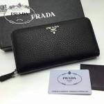 PRADA 1M0506-01 人氣熱銷經典新款黑色荔枝紋原版皮拉鏈長款錢夾