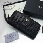 PRADA 1M0506-010 人氣熱銷經典新款黑色原版皮拉鏈長款錢夾