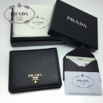 PRADA 1M0204 人氣熱銷經典新款黑色原版皮兩折男女式通用錢夾