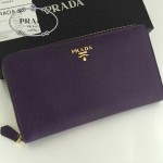 PRADA 1M1188-13 時尚潮流女士散字標紫色十字紋原版皮多功能長款錢包