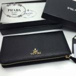 PRADA 1M1187 人氣熱銷經典新款黑色原版皮拉鏈長款錢夾