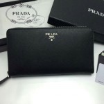 PRADA 1M1188-14 時尚潮流女士散字標黑色十字紋原版皮多功能長款錢包