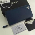 PRADA 1M0506-05 人氣熱銷經典新款深藍色原版皮拉鏈長款錢夾