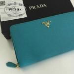 PRADA 1M1188-12 時尚潮流女士散字標孔雀藍十字紋原版皮多功能長款錢包