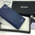 PRADA 2M0836 歐美商務男士logo標寶藍色十字紋原版皮長款西裝夾