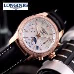 Longines-91-11 歐美百搭間玫瑰金系列黑色鑲鑽皮帶款進口石英腕錶