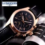 Longines-91-19 歐美百搭玫瑰金配黑色皮帶款進口石英腕錶