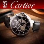 CARTIER-252-4 潮流男士藍氣球系列閃亮銀黑底鏤空316精鋼錶殼自動機械腕錶