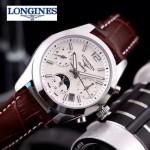 Longines-91-22 歐美百搭閃亮銀配褐色皮帶款進口石英腕錶