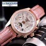Longines-91-12 歐美百搭間玫瑰金系列粉色鑲鑽皮帶款進口石英腕錶