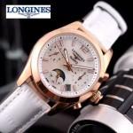 Longines-91-18 歐美百搭玫瑰金配白色皮帶款進口石英腕錶