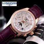 Longines-91-14 歐美百搭間玫瑰金系列紫色鑲鑽皮帶款進口石英腕錶