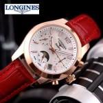 Longines-91-17 歐美百搭玫瑰金配红色皮帶款進口石英腕錶