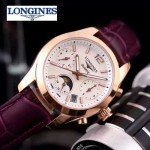 Longines-91-16 歐美百搭玫瑰金配紫色皮帶款進口石英腕錶