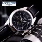 Longines-91-21 歐美百搭閃亮銀配黑色皮帶款進口石英腕錶